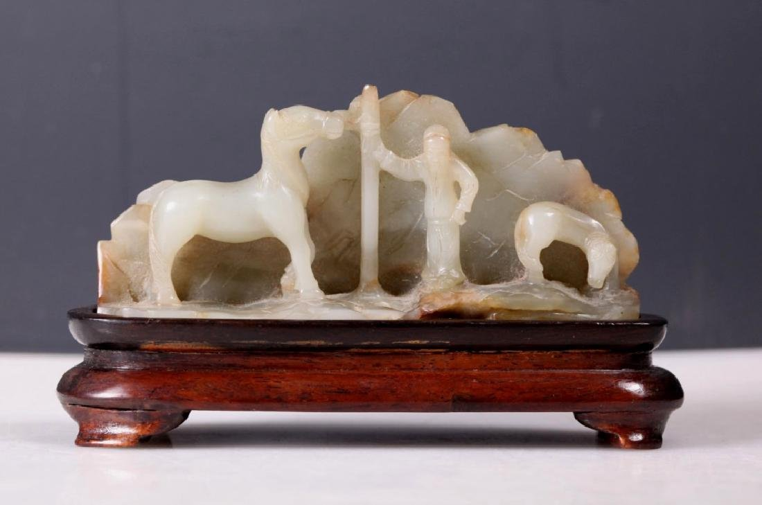 Chinese 19 C Carved Jade Scholar's Brush Rest