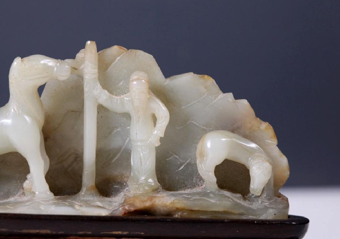 Chinese 19 C Carved Jade Scholar's Brush Rest - 4