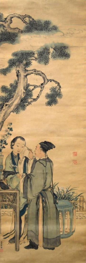 Chinese Ink & Color Painting on Silk; Man & Woman
