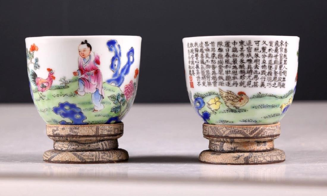 Pair Chinese Enameled Porcelain Chicken Cups