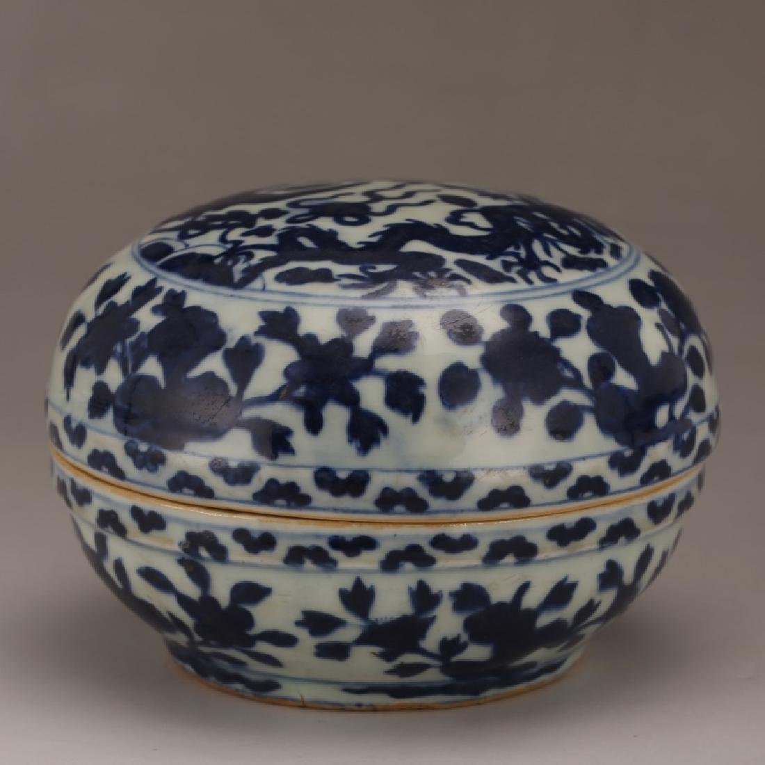 Chinese Blue & White Porcelain Round Box & Cover