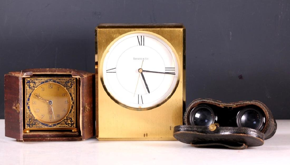 Two Clocks; One Pr Old Opera Binoculars