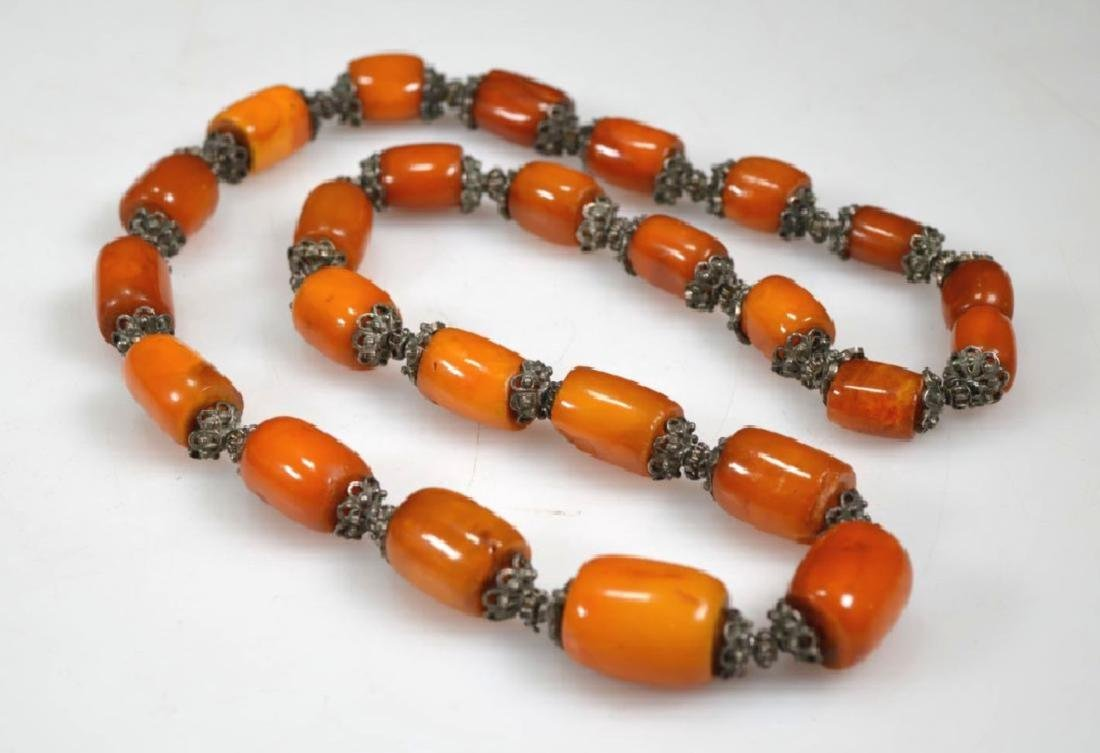Chinese Amber & Silver Bead Necklace; 128G