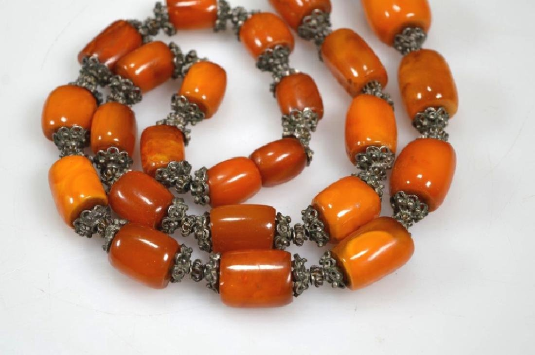 Chinese Amber & Silver Bead Necklace; 128G - 4