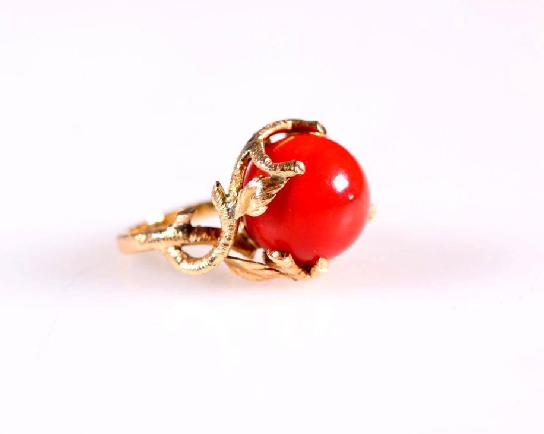Dark Coral Bead and HIgh Karat Gold Ring