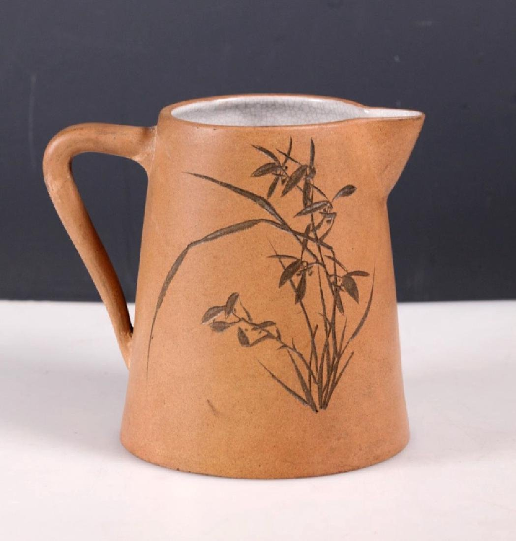 Chinese Incised Enameled Light Clay Yixing Pitcher