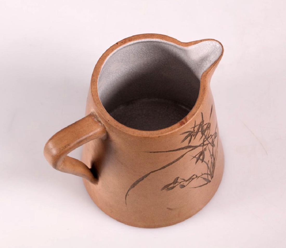Chinese Incised Enameled Light Clay Yixing Pitcher - 3