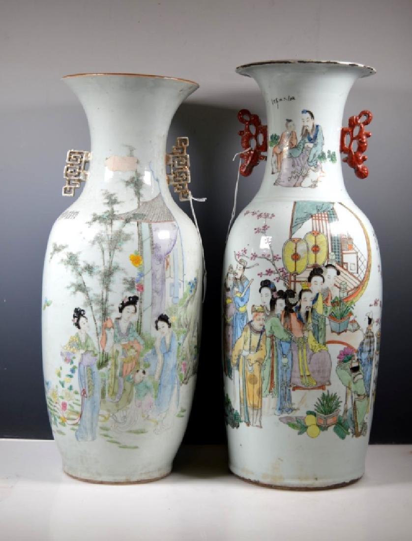 Two Large Chinese Enameled Porcelain Vases