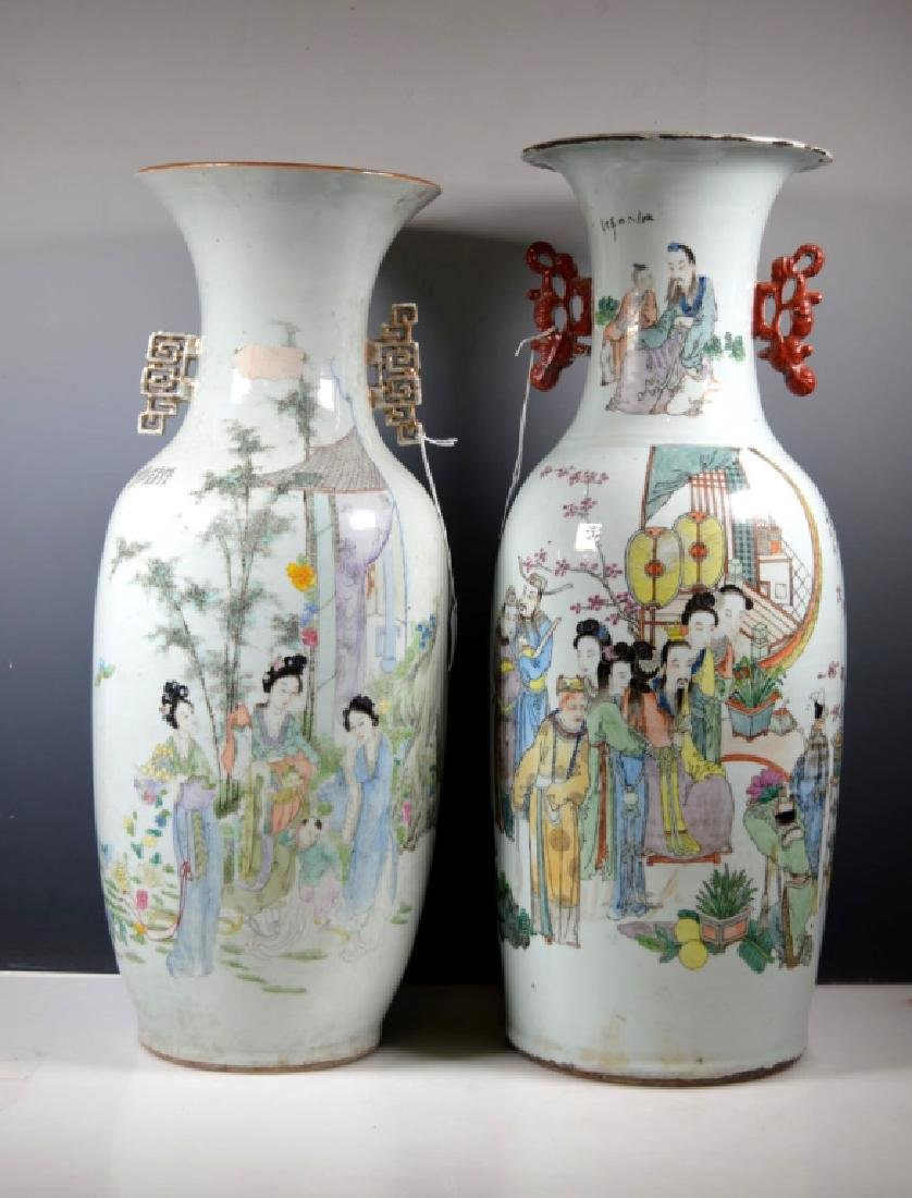 Two Large Chinese Enameled Porcelain Vases