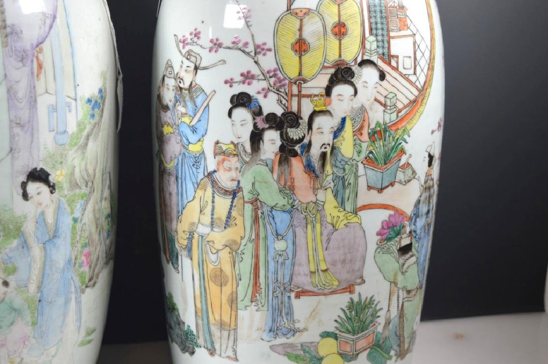 Two Large Chinese Enameled Porcelain Vases - 2