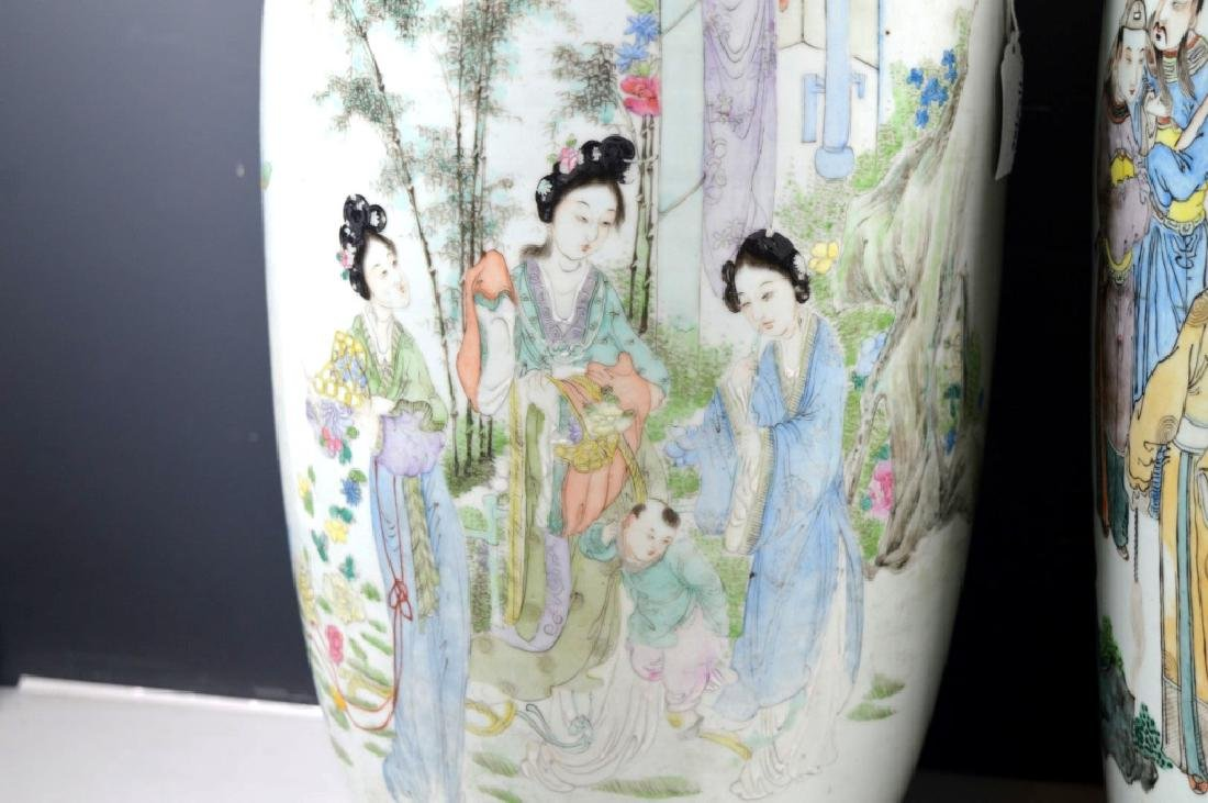 Two Large Chinese Enameled Porcelain Vases - 3