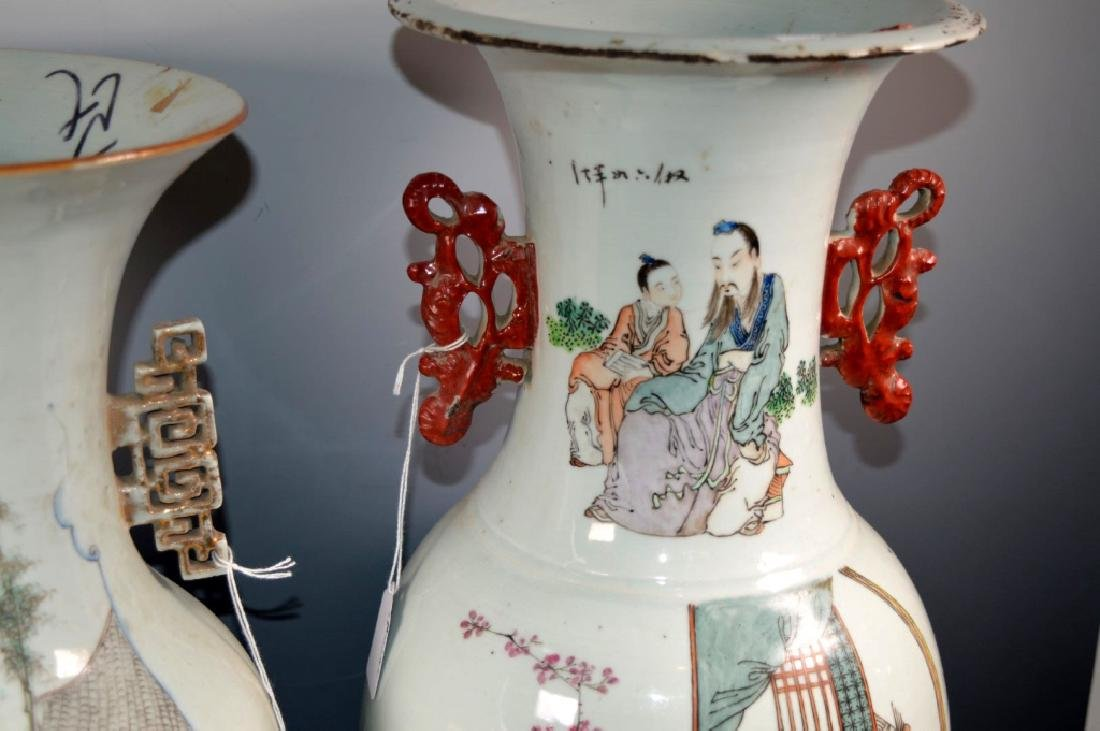 Two Large Chinese Enameled Porcelain Vases - 4
