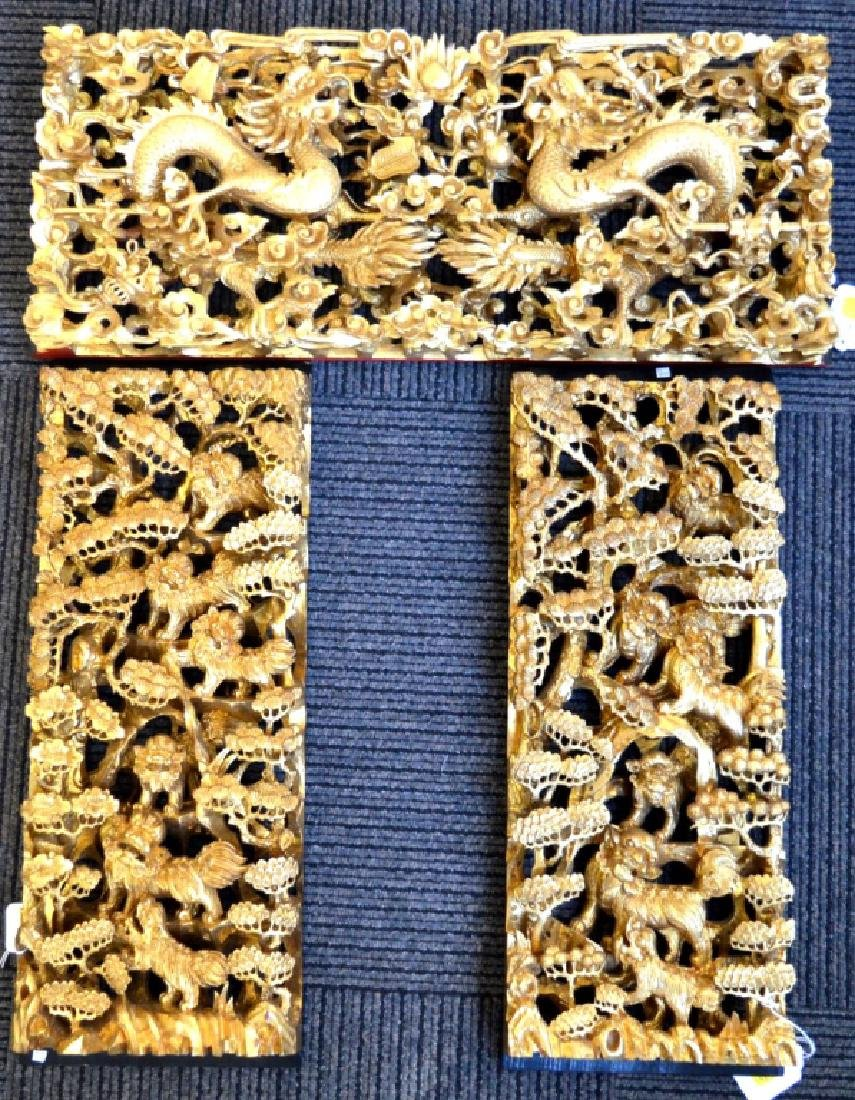 Chinese Guandong Gold Lacquer 3 Part Carving