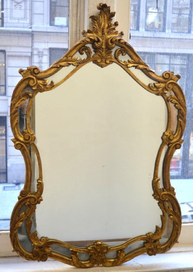 Baroque Gilt Wood Framed Mirror.