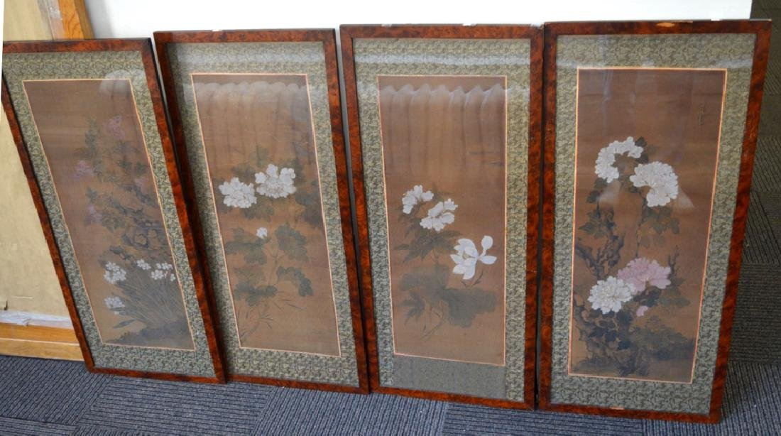 Set 4 Chinese Flower Paintings on Silk; Framed