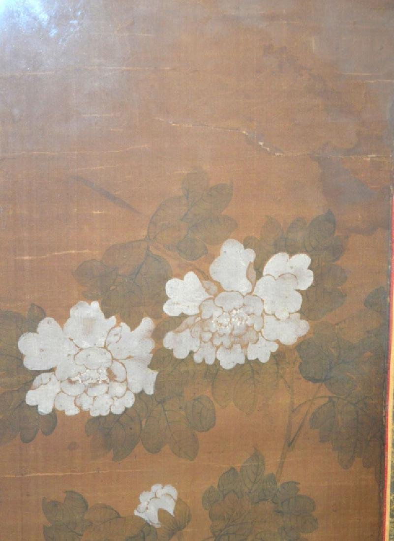 Set 4 Chinese Flower Paintings on Silk; Framed - 4