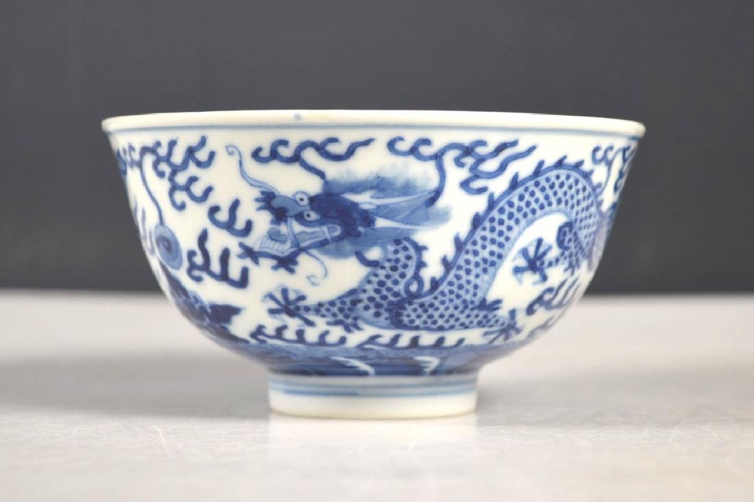 Fine Chinese Qing Blue Dragon Porcelain Bowl