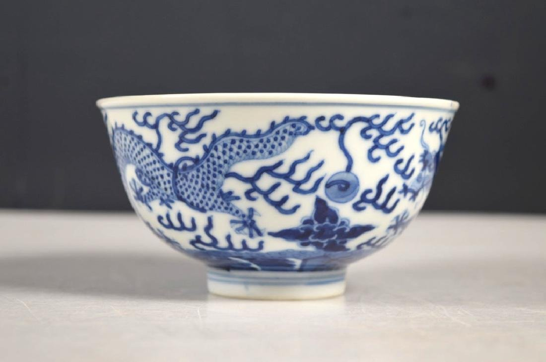 Fine Chinese Qing Blue Dragon Porcelain Bowl - 2