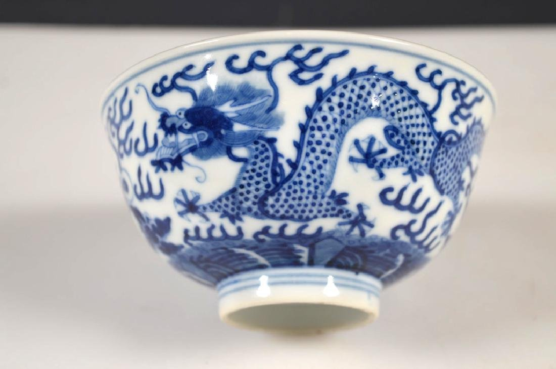 Fine Chinese Qing Blue Dragon Porcelain Bowl - 3