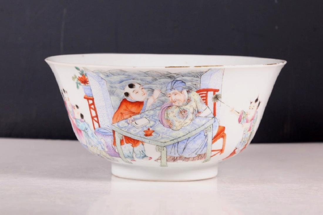 Chinese Scholar & 5 Boys Enameled Borcelain Bowl