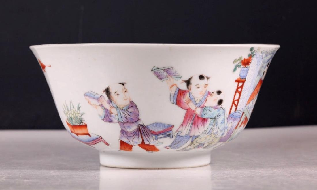 Chinese Scholar & 5 Boys Enameled Borcelain Bowl - 2