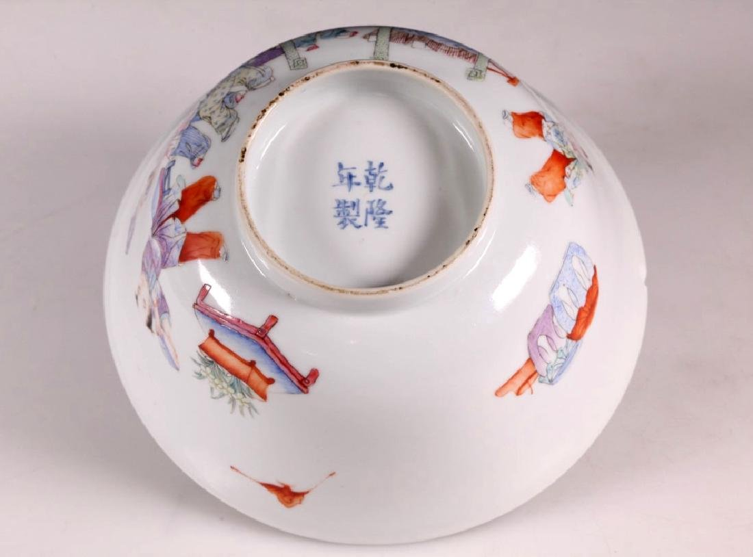 Chinese Scholar & 5 Boys Enameled Borcelain Bowl - 3