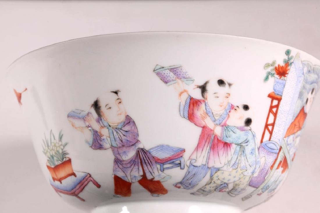 Chinese Scholar & 5 Boys Enameled Borcelain Bowl - 6