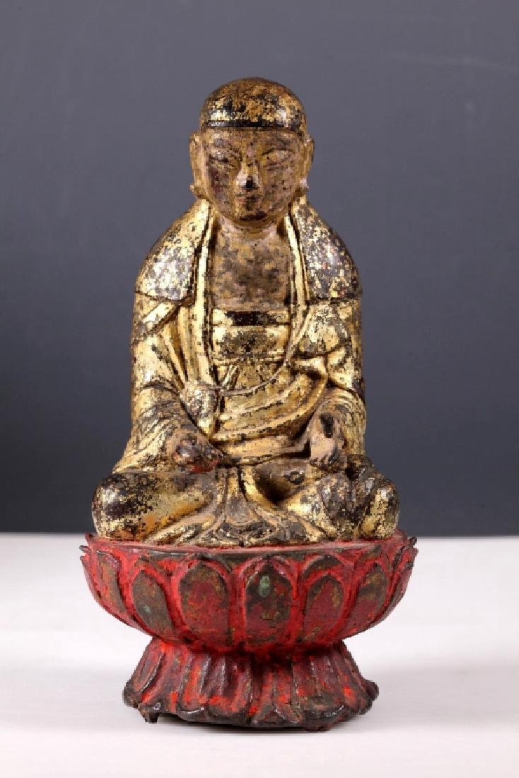 Ming Chinese Gilt Iron Seated Buddha on Lotus