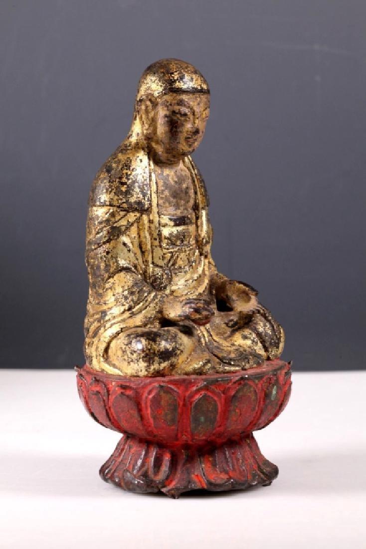 Ming Chinese Gilt Iron Seated Buddha on Lotus - 2