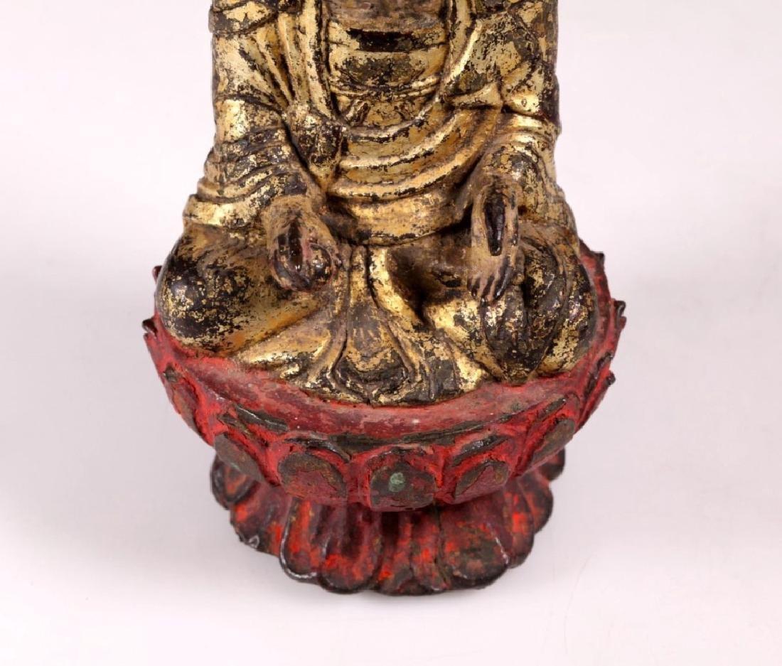 Ming Chinese Gilt Iron Seated Buddha on Lotus - 6