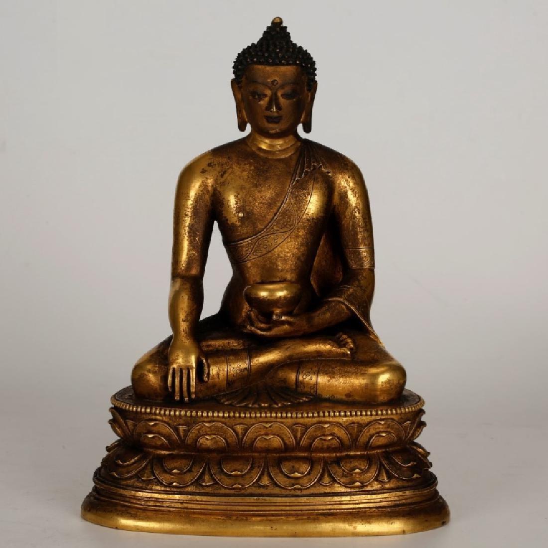 Tibetan Gilt Bronze Seated Buddha