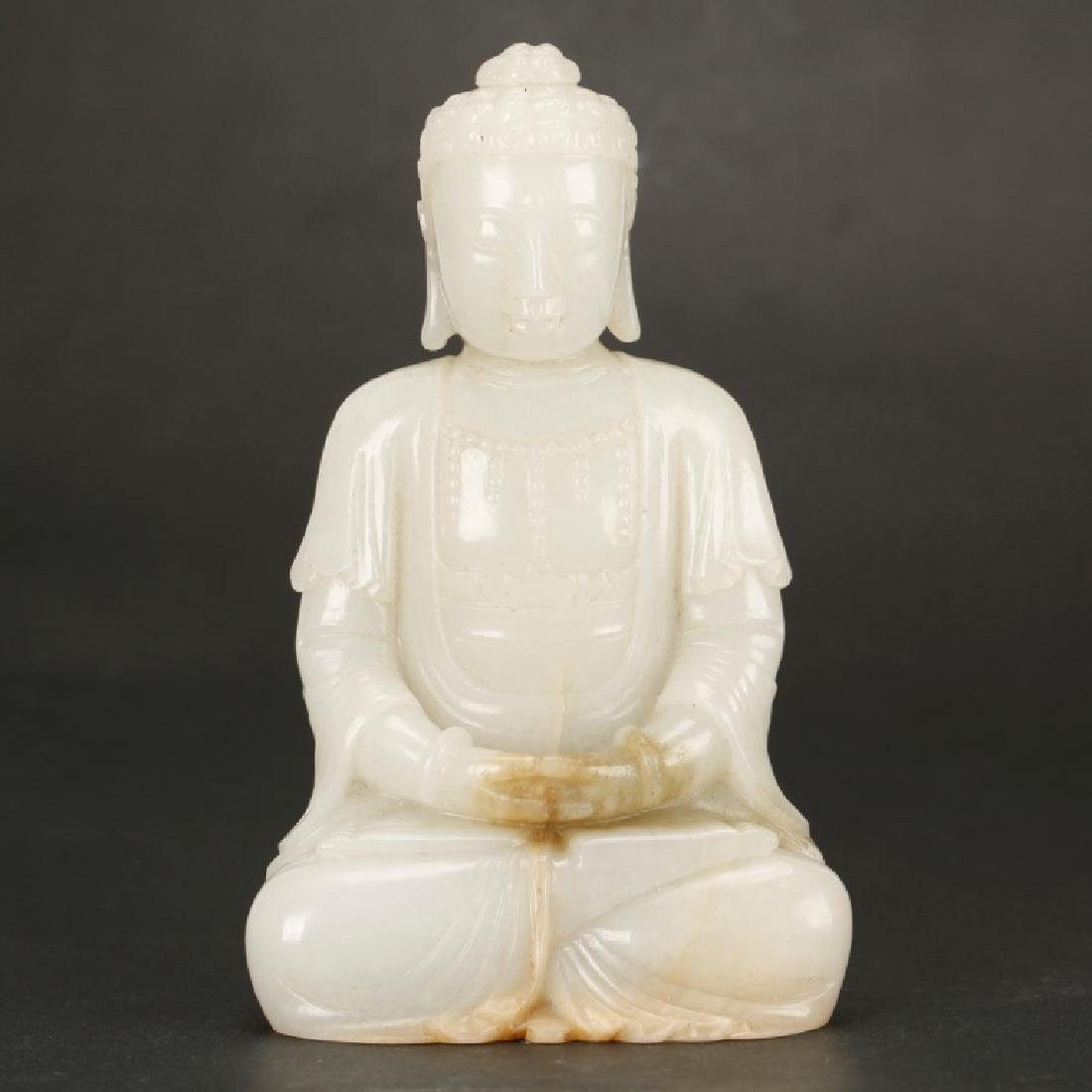 Chinese Qing Carved White Jade Seated Buddha