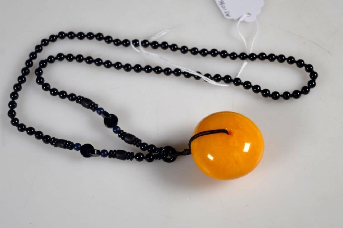 Lg Butterscotch Amber Bead, Black Bead Necklace