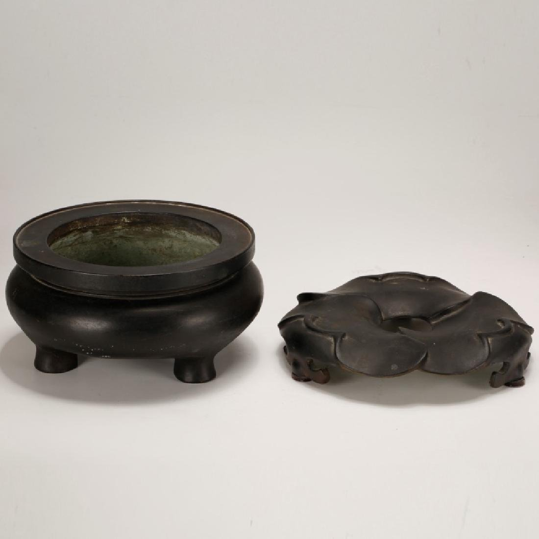 Chinese Qing Dynasty Cast Bronze Censer & Stand - 2