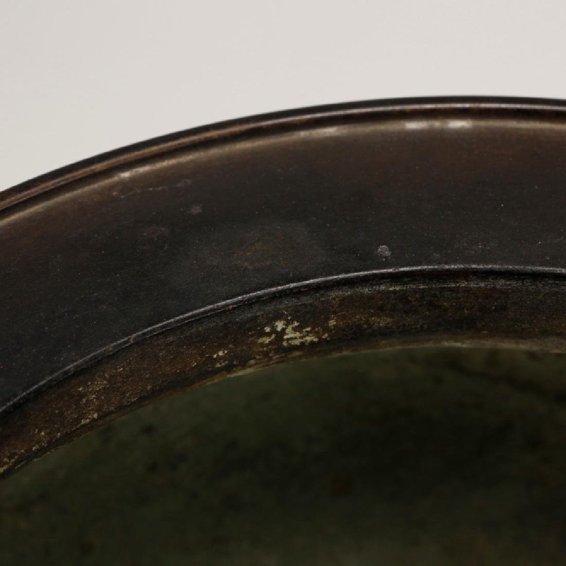 Chinese Qing Dynasty Cast Bronze Censer & Stand - 5