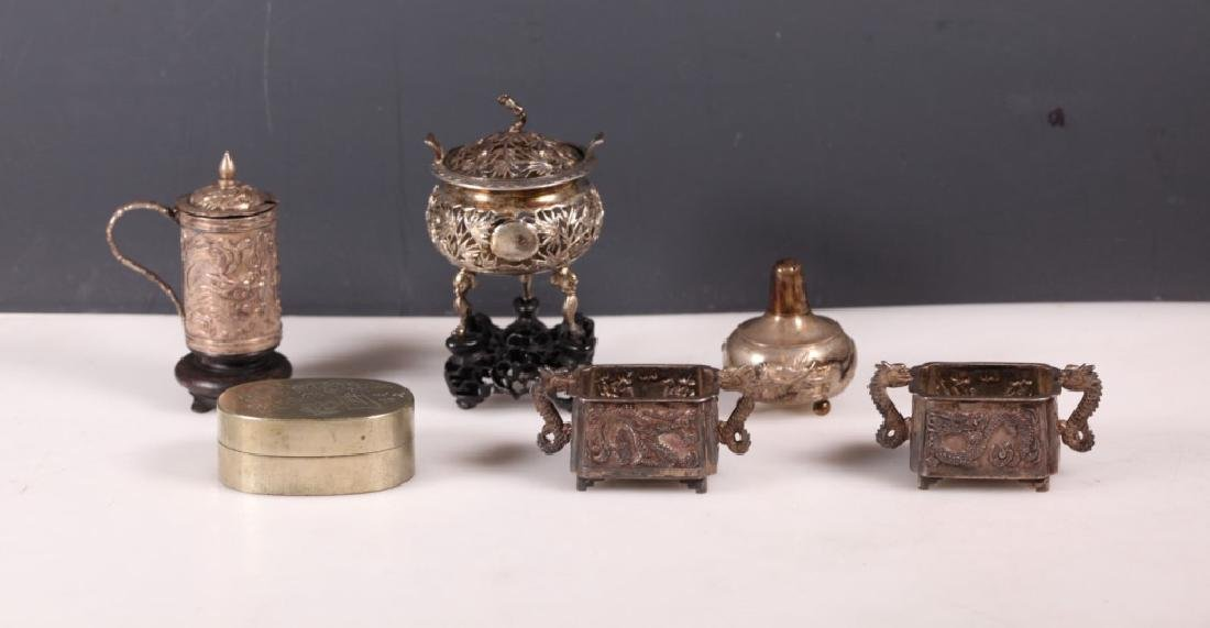 Five Chinese Silver Pieces; Ink Box, 2 Stands