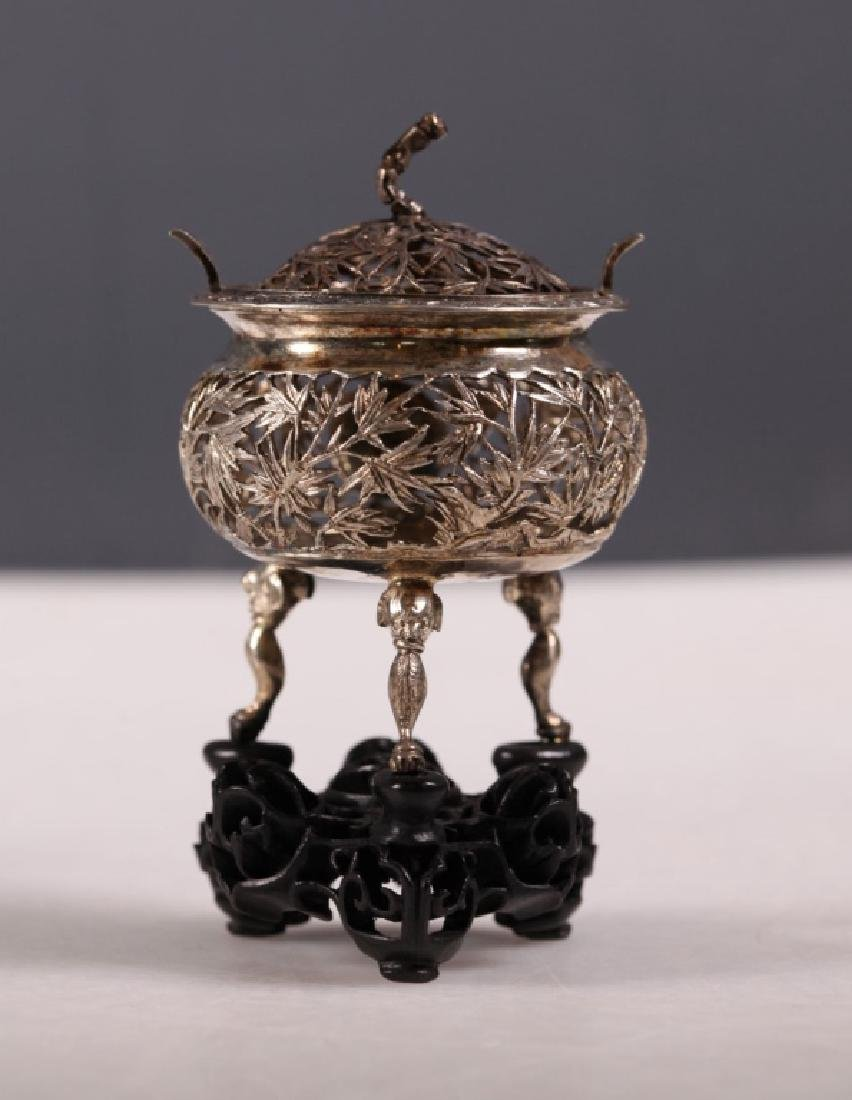 Five Chinese Silver Pieces; Ink Box, 2 Stands - 3