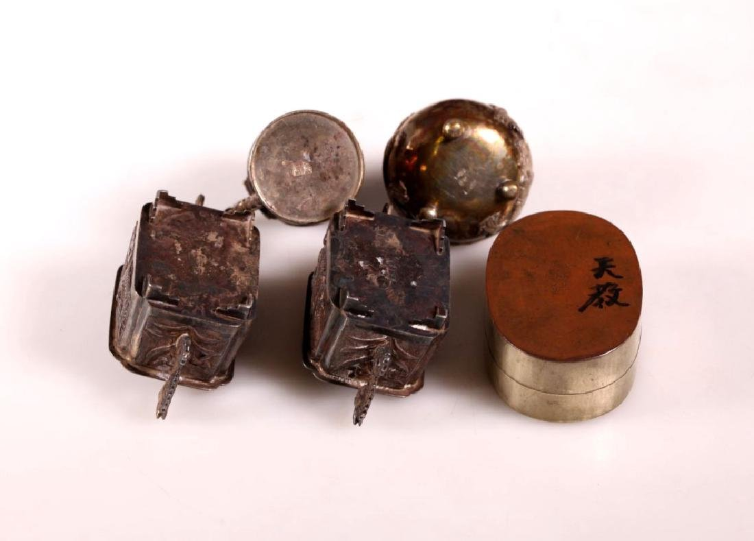 Five Chinese Silver Pieces; Ink Box, 2 Stands - 7