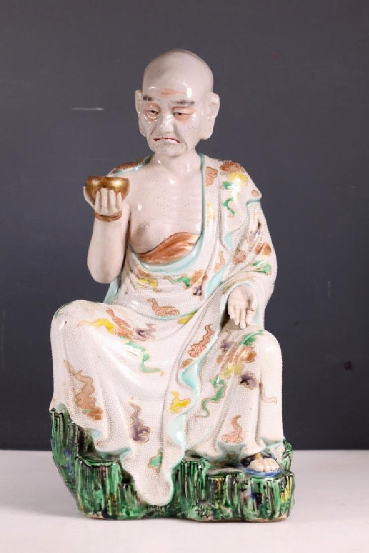 Large Japanese 19 C Porcelain Lohan Figure