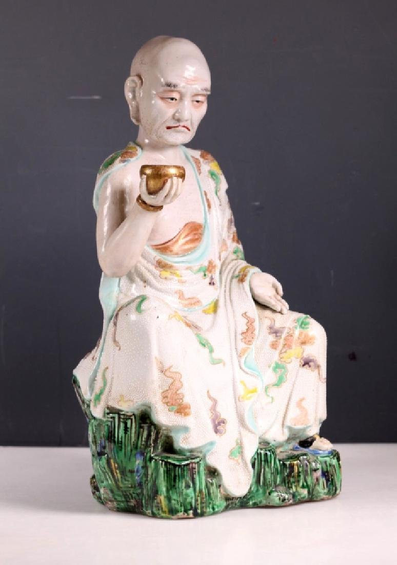 Large Japanese 19 C Porcelain Lohan Figure - 2
