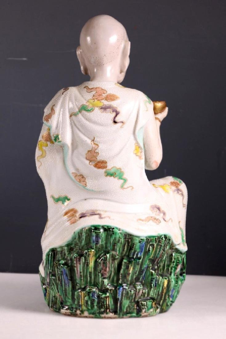 Large Japanese 19 C Porcelain Lohan Figure - 3