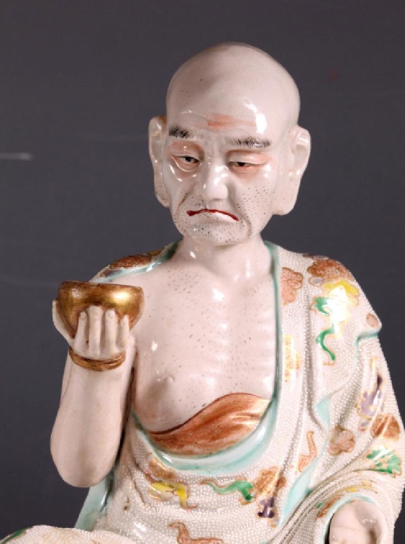 Large Japanese 19 C Porcelain Lohan Figure - 4