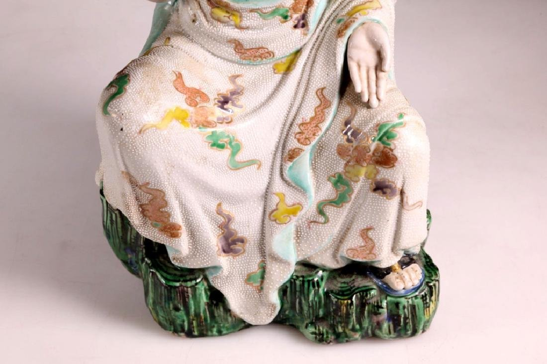Large Japanese 19 C Porcelain Lohan Figure - 5