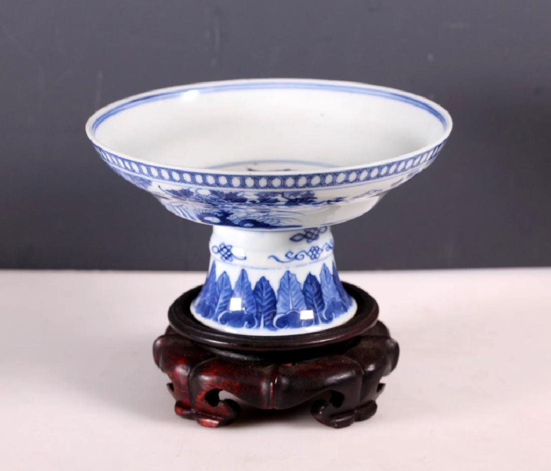 Chinese Late Qing B & W Porcelain Stem Bowl