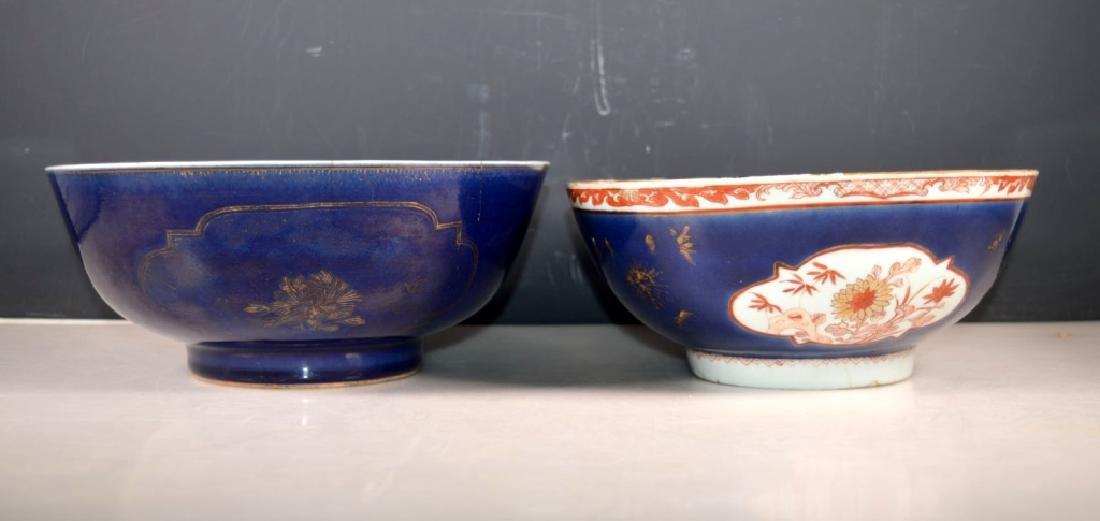 Two 18 C Chinese Enameled & Blue Glazed Bowls
