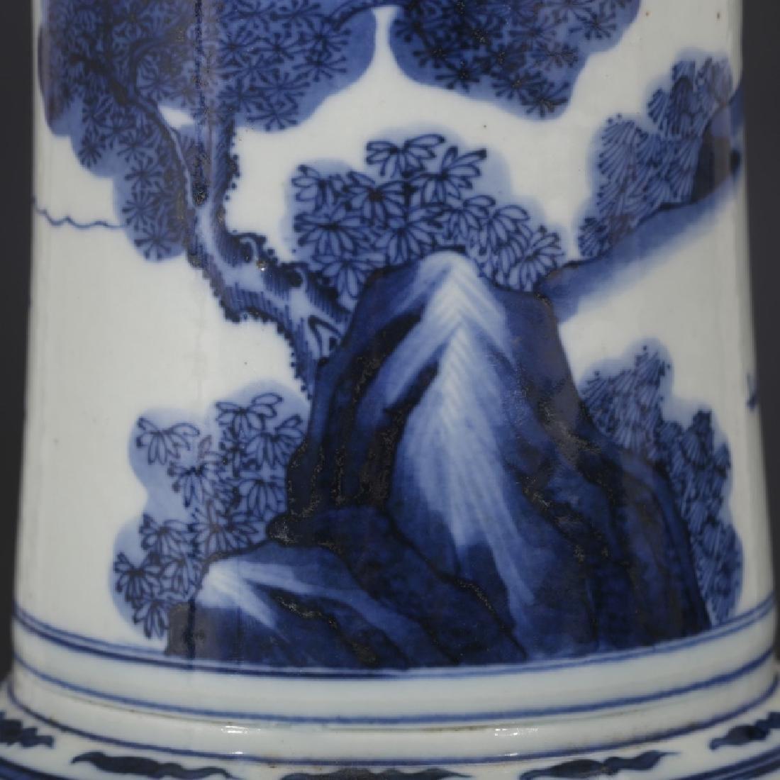 Good Chinese B & W Porcelain Yen-Yen Vase - 5