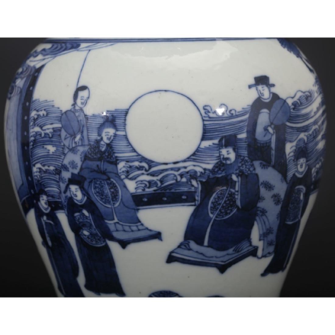 Good Chinese B & W Porcelain Yen-Yen Vase - 6