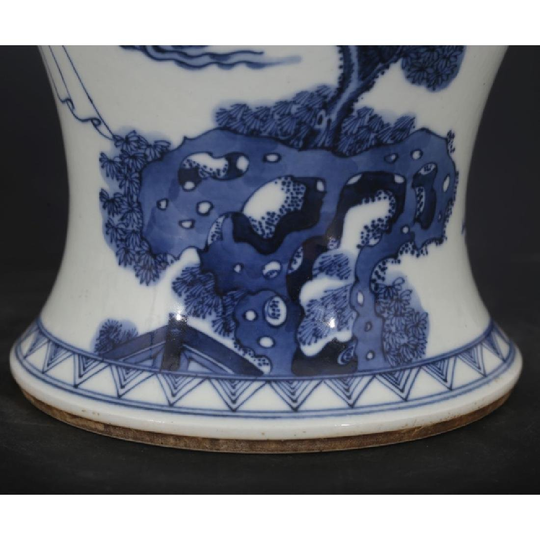 Good Chinese B & W Porcelain Yen-Yen Vase - 7