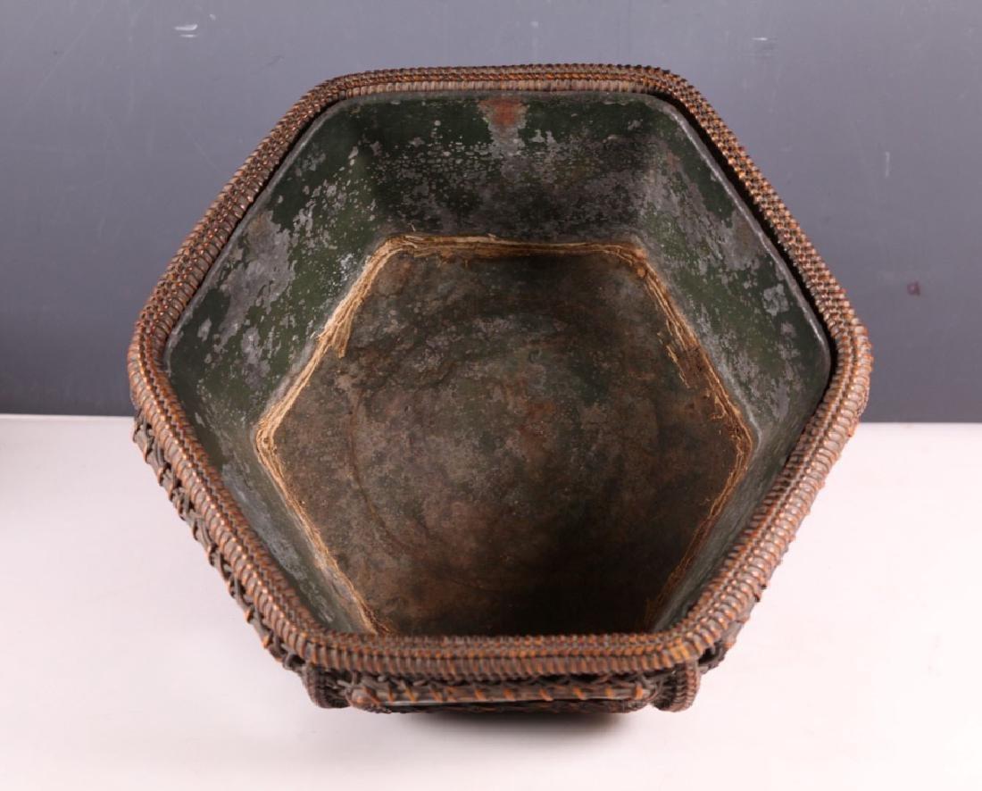 Hexagonal Basket inset w 6 Wucai Porcelain Tiles - 3
