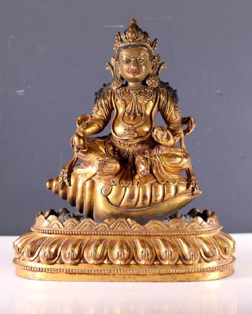 Tibetan Gilt Bronze Buddha on Shell, Lotus Base